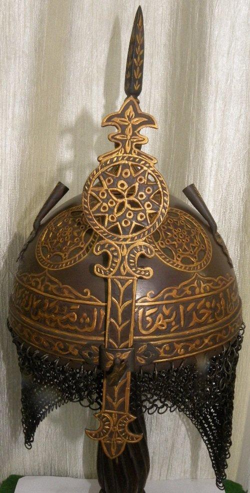 VINTAGE TURKISH WARRIOR HELMET ARABIC ENGRAVING 5 ROUND