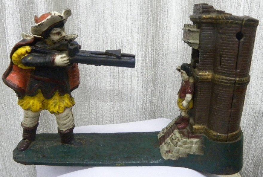 ANTIQUE VICTORIAN CAST IRON MONET BANK SOLDIER FIG.