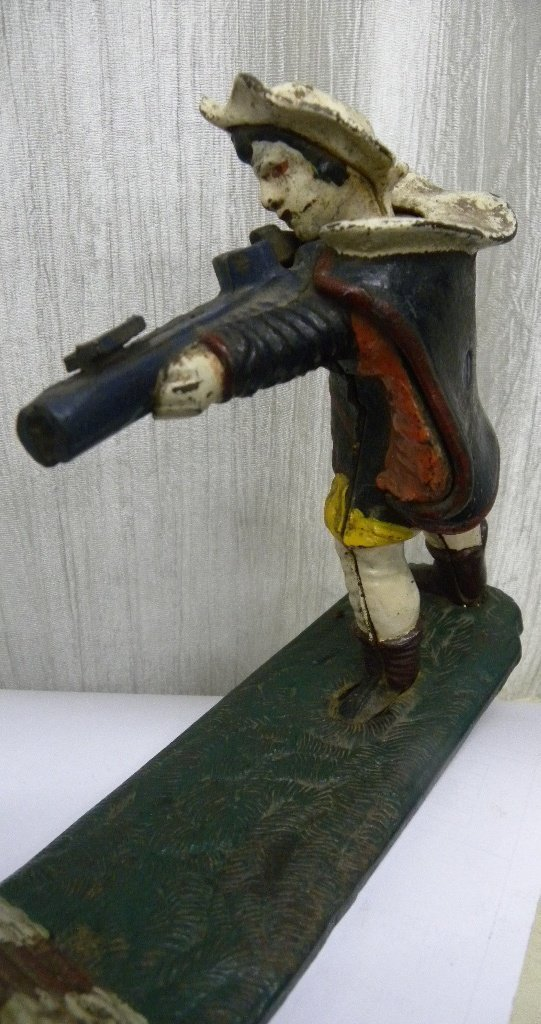 ANTIQUE VICTORIAN CAST IRON MONET BANK SOLDIER FIG. - 5