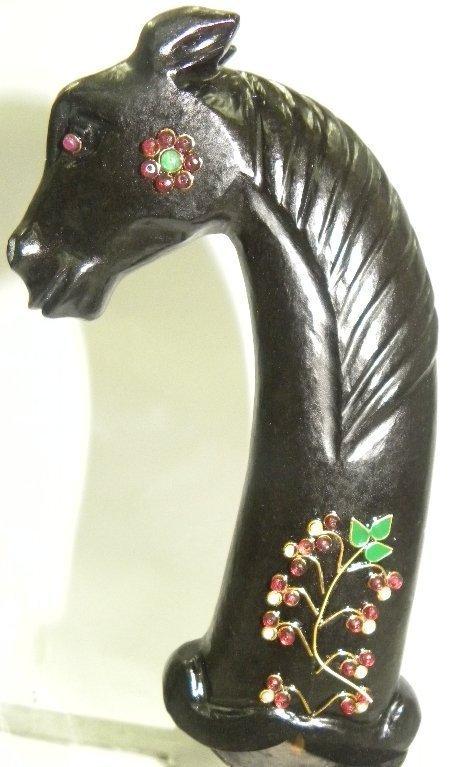 PERSIAN BLACK JADE DAGGER HANDLE HORSE FIG REAL GEMS