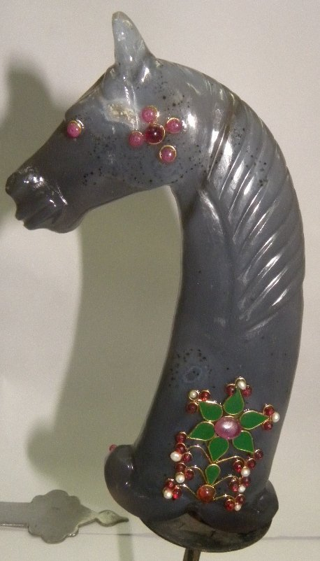 PERSIAN JADE DAGGER HANDLE HORSE FIG PRESIOUS GEMS