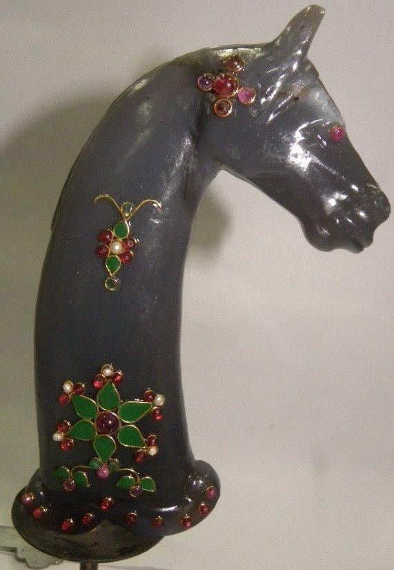 PERSIAN JADE DAGGER HANDLE HORSE FIG PRESIOUS GEMS - 2