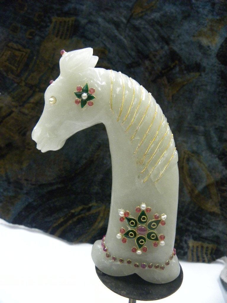 PERSIAN JADE DAGGER HANDLE HORSE FIG PRESIOUS GEM