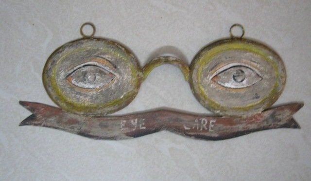ANTIQUE OPTOMETRIST TRADE SIGN EMBOSSED EYES , PAINTED