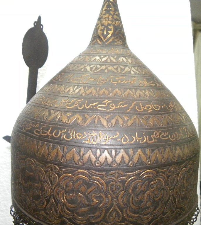 PERSIAN WARRIOR RARE  HELMET HORIZONTAL ARABIC ENGRAVIN - 9