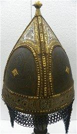 ANTIQUE TURKISH CHERKESSIAN WARIOR HELMET GOLD &SILVER