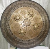 VINTAGE ISLAMIC PERSIAN WARRIOR SHIELD ARABIC ETCHED