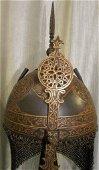VINTAGE TURKISH WARRIOR HELMET ARABIC ETCHED 5 CUT