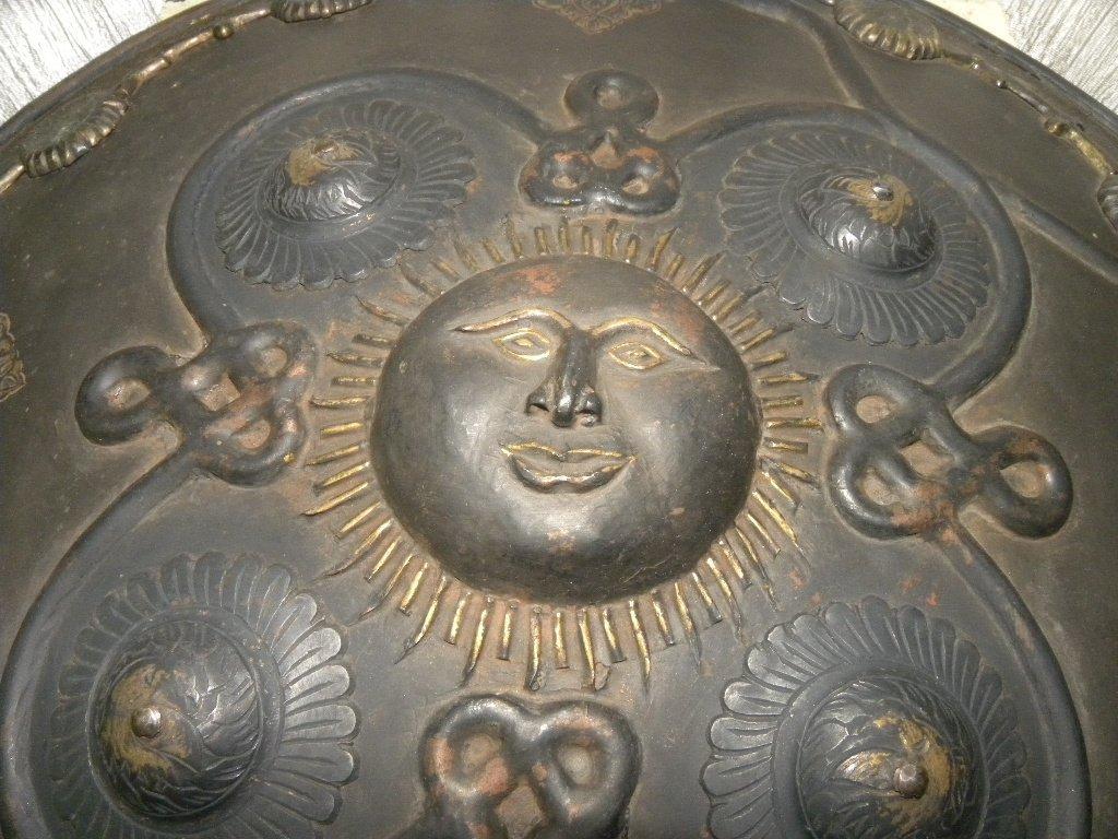SHIELD MILITERY PERSIAN WARIOR SUN & SNAKE BRASS DECO. - 10
