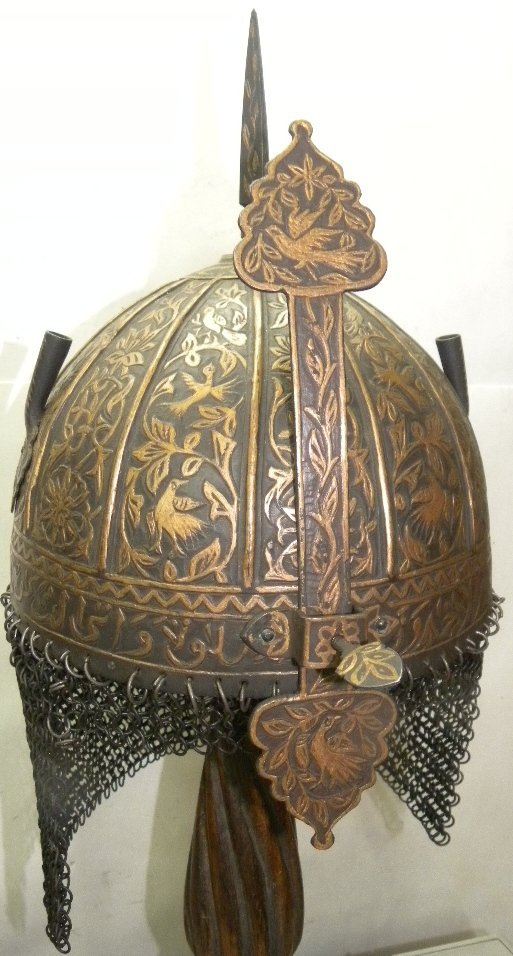 VINTAGE HELMET MILITERY PERSIAN CALIGRAPHY  BIRD ETCHED