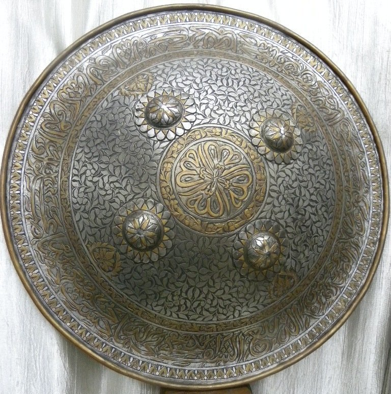SHIELD MILITERY   WARRIOR PERSIAN CALLIGRAPHY ETCHED