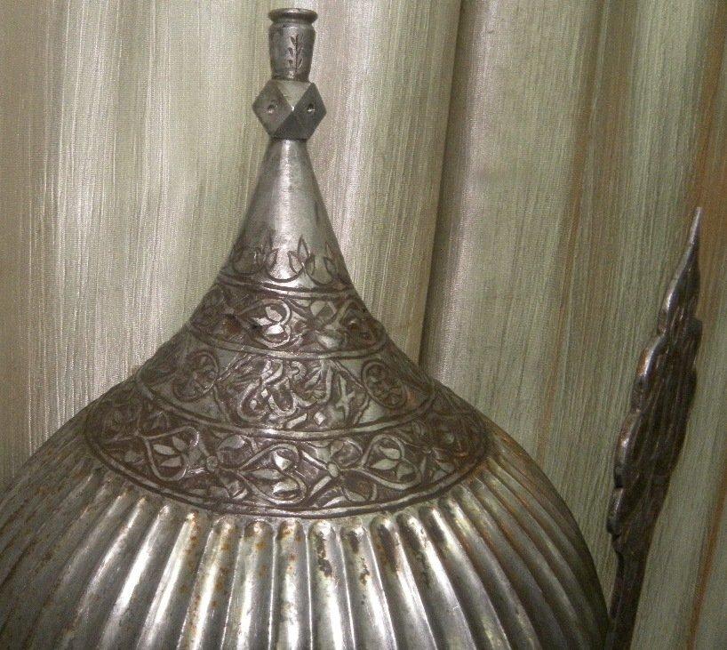 VINTAGE HELMET PERSIAN WARRIOT CALLIGRAPHY EATCHED - 3