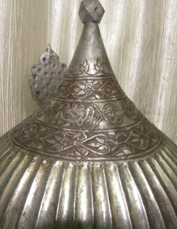 VINTAGE HELMET PERSIAN WARRIOT CALLIGRAPHY EATCHED - 8