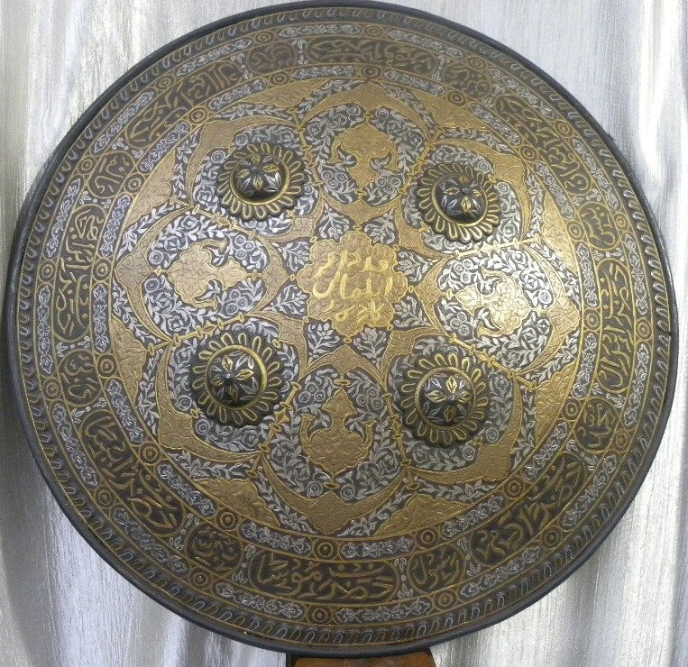 SHIELD MILITERY OTTOMAN WARRIOR CALLIGRAPHY EATCHED