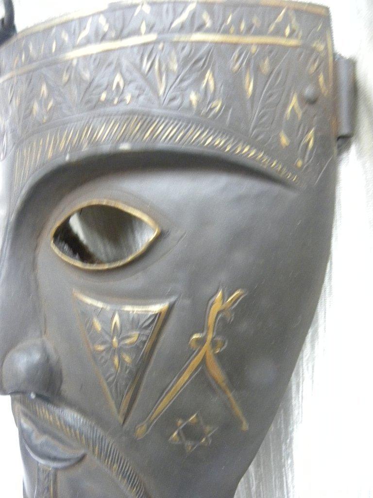 Vintage Islamic Persian Warrior Face Mask rare sign - 5