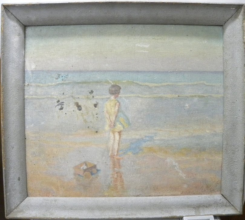 ANTIQUE CANVAS PAINTING  GIRL TOY SEA SIDE