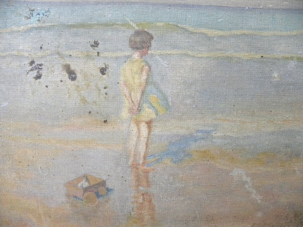 ANTIQUE CANVAS PAINTING  GIRL TOY SEA SIDE - 2