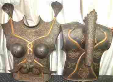 INDO PERSIAN FEMALE CUIRASS PLATES QUIVER, AXE, DAGGERS