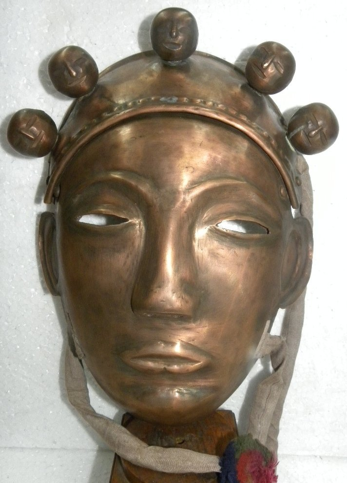 ANTIQUE WARRIOR FACE MASK COPPER FOREHEAD 5 FACE