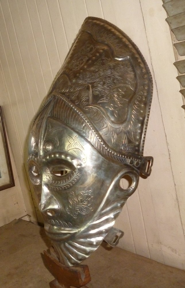 ANTIQUE AFRICAN MASK LONG FACE SILVER PLATED ENGRAVED