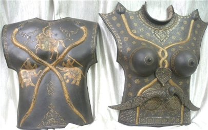 INDO PERSIAN FEMALE CUIRASS 2 PLATES SNAKE FIG DAGGERS