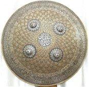 ORNATE INDO PERSIAN WARRIOR SHIELD ARABIC INSCRIPTION