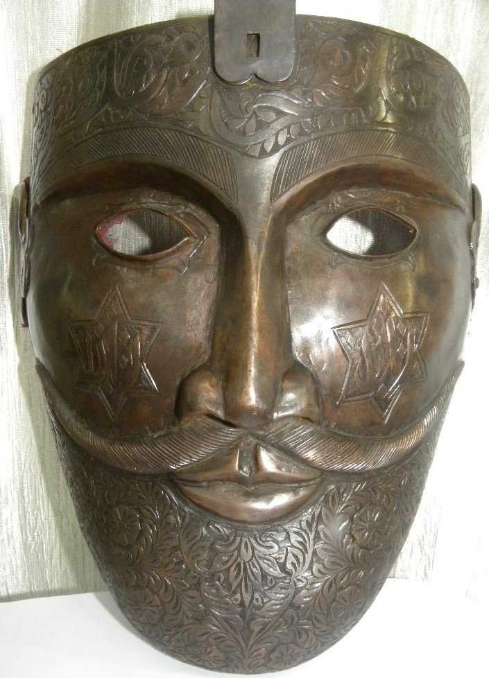 ANTIQUE INDO PERSAIN WARIOR FACE MASK ARABIC CALIGRAPHY