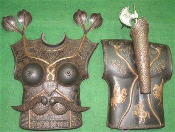 PERSIAN FEMALE WARRIOR CUIRASS 2 PLATES SNAKE DAGGERS