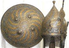 INDO PERSIAN WARRIOR SET SHIELD HELMET VINE BANDS