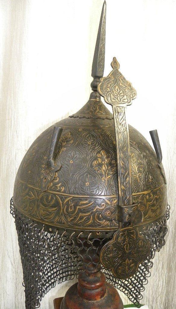 RARE PERSIAN WARRIOR HELMET ARABIC INSCRIPTION