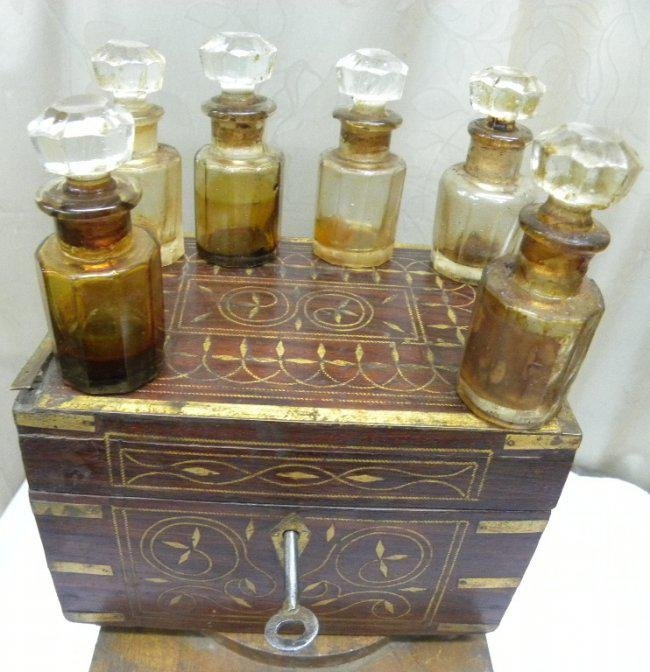 Original Antique Hand Crafted Wooden Perfume Bottle Box