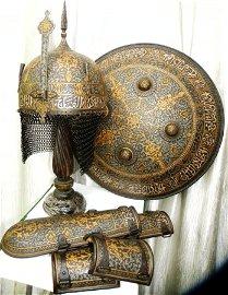 INDO PERSIAN WARRIOR SET HELMET SHIELD ARM GUARD ARABIC