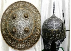 RARE OLD INDO PERSIAN WARIOR SET HELMET SHIEDL ARMGUARD