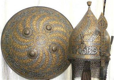 OLD INDO PERSIAN WARRIOR SET SHIELD HELMET VINE BANDS