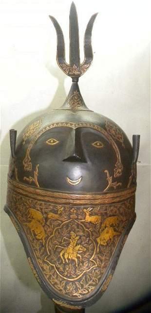 INDO PERSIAN KULAH KHUD WARRIOR HELMET GOLD ART WORK