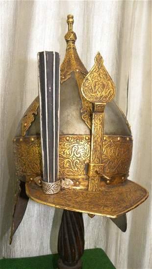 RARE  MUGHAL WARRIOR HELMET FLORAL GOLD ART WORK