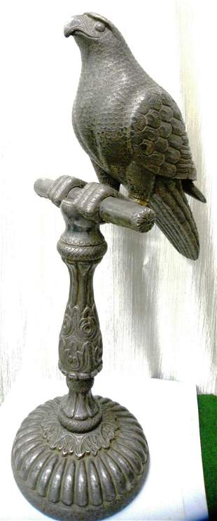 VERY OLD EAGLE WOODEN FIGURE WITH SILVER SHEET LAYER
