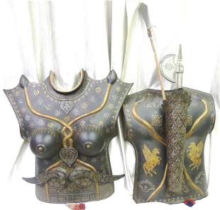 RARE FEMALE WARRIOR CUIRASS CHEST PLATE SNAKE FIGS.