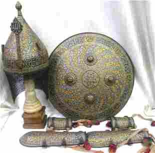 INDO PERSIAN WARRIOR SET SHIELD HELMET HAND GUARD BANDS