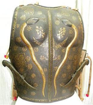 RARE PERSIAN MUGHAL WARRIOR CUIRASS CHEST PLATES SNAKE