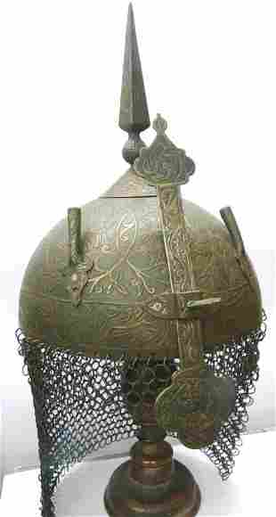 ANTIQUE WARRIOR HELMET FRENCH STYLE 8 BIRDS GRAPES