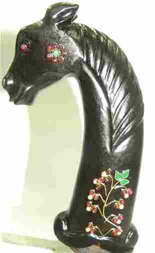 EXCEPTIONAL RARE ASIAN JADE DAGGER HANDLE HORSE SHAPE