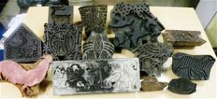 VINTAGE TRADITIONAL TEXTILE PRINTING WOOD CARVED BLOCKS