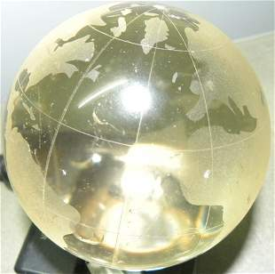 EXCEPTIONAL RARE CRYSTAL STONE BALL WORLD MAP ENGRAVING