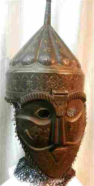 EXCEPTIONAL INDO PERSIAN HELMET & MASK MELON