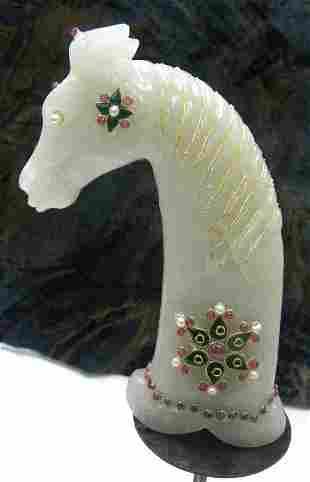 RARE & COLLECTABLE ASIAN JADE DAGGER HANDLE HORSE FACE