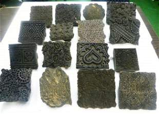 RARE TRADITIONAL TEXTILE PRINTING WOOD CARVED BLOCKS