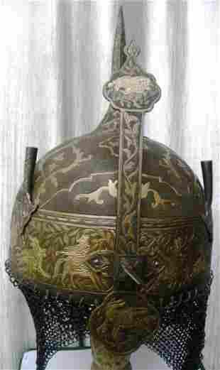 INCREDIBLE PERSIAN WARRIOR HELMET RIM HUNTING FIGURES