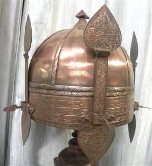 PERSIAN WARRIOR HELMET COPPER 3NASAL GUARD ARABIC