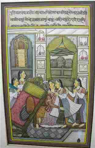 INDIAN MINITURE PAINTING LOVE SCENE CALLIGAPHY
